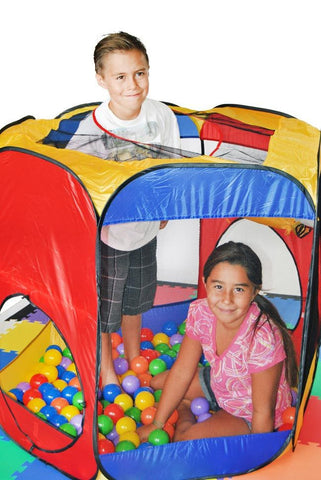Six Sided Hexagon Twist Play Tent w/ Tunnel & Safety Meshing - eWonderWorld