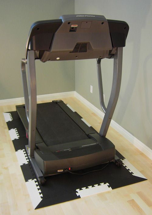 "90"" X 43"" Black Extra Thick Treadmill Mat w/ Edging: Exercise Equipment Floor Protection - eWonderWorld"