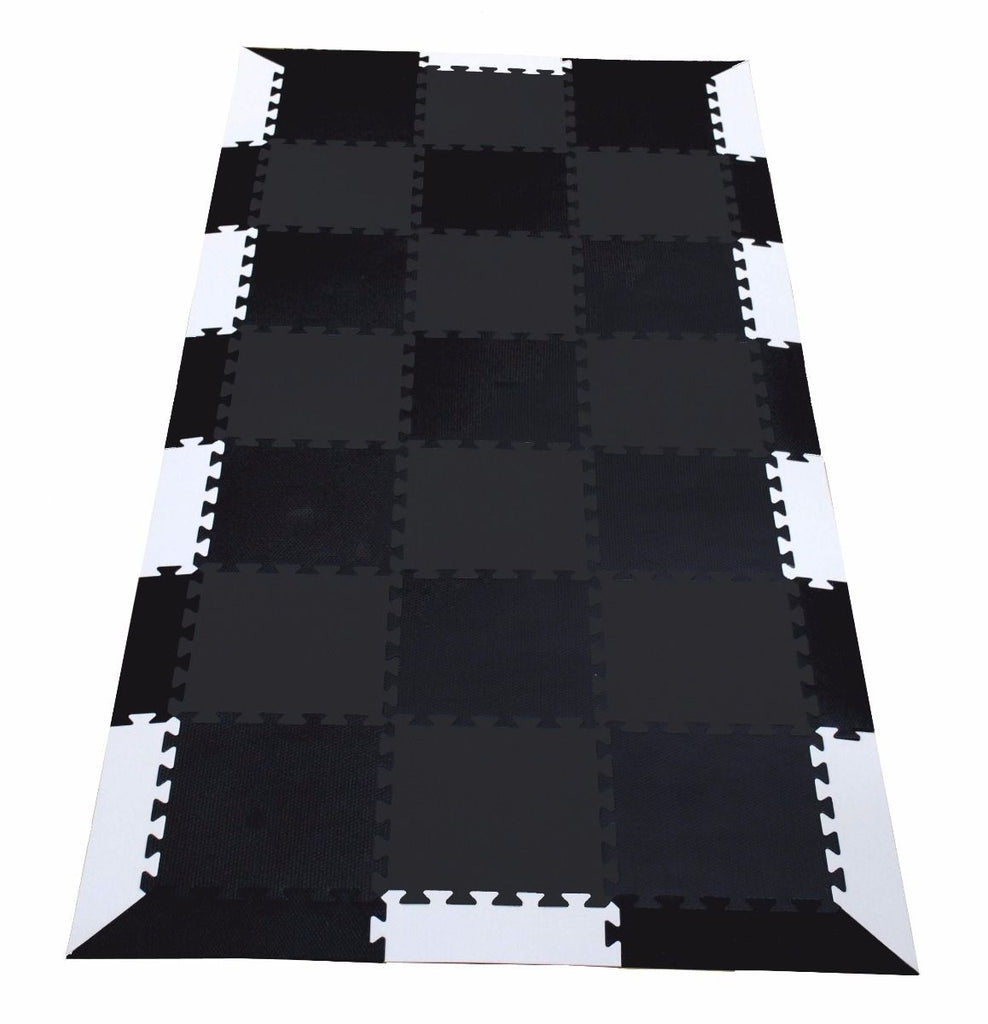 Black and White Treadmill Interlocking Foam Mat