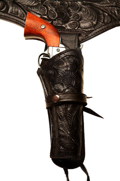 22 Caliber Black Western/Cowboy Action Hollywood Style Leather Gun Holster and Belt