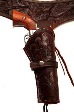 38/357 Brown Western/Cowboy Action Hollywood Style Leather Gun Holster and Belt
