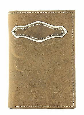 Lucky Trails Men's Distressed Leather/Contast Stitching Tri-fold Western Wallet