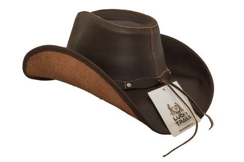 ... Lucky Trails Rocky Top Brown Shapeable Handmade Leather Western Cowboy  Hat d1eb537ee7c9