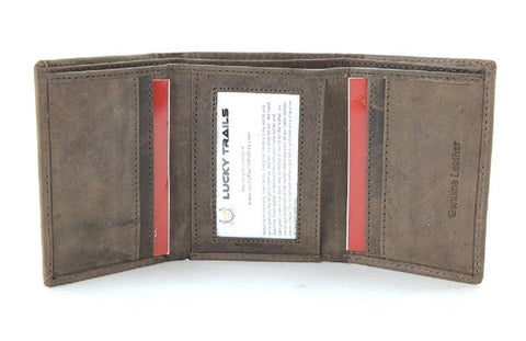 "Lucky Trails ""Davidson"" Genuine Leather Men's Trifold Wallet in Brown and Black"