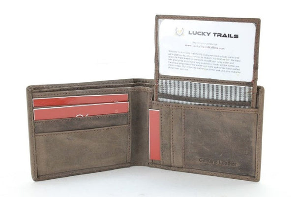 "Lucky Trails ""Mushlin"" Genuine Leather Men's Bifold Wallet in Brown and Black"