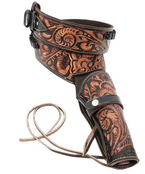 44/45 Two Tone Brown Western/Cowboy Action Hollywood Style Leather Gun Holster and Belt