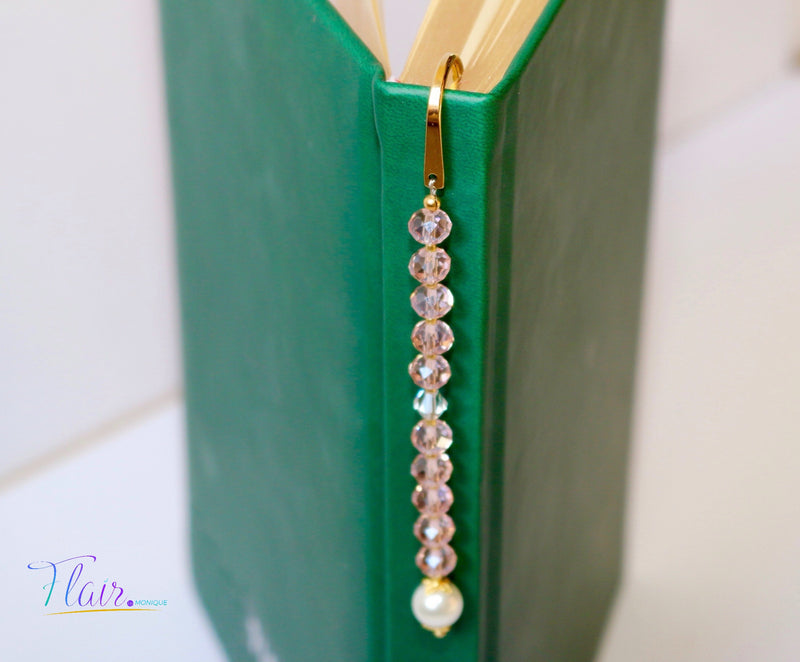 Pink and pearl beaded bookmark