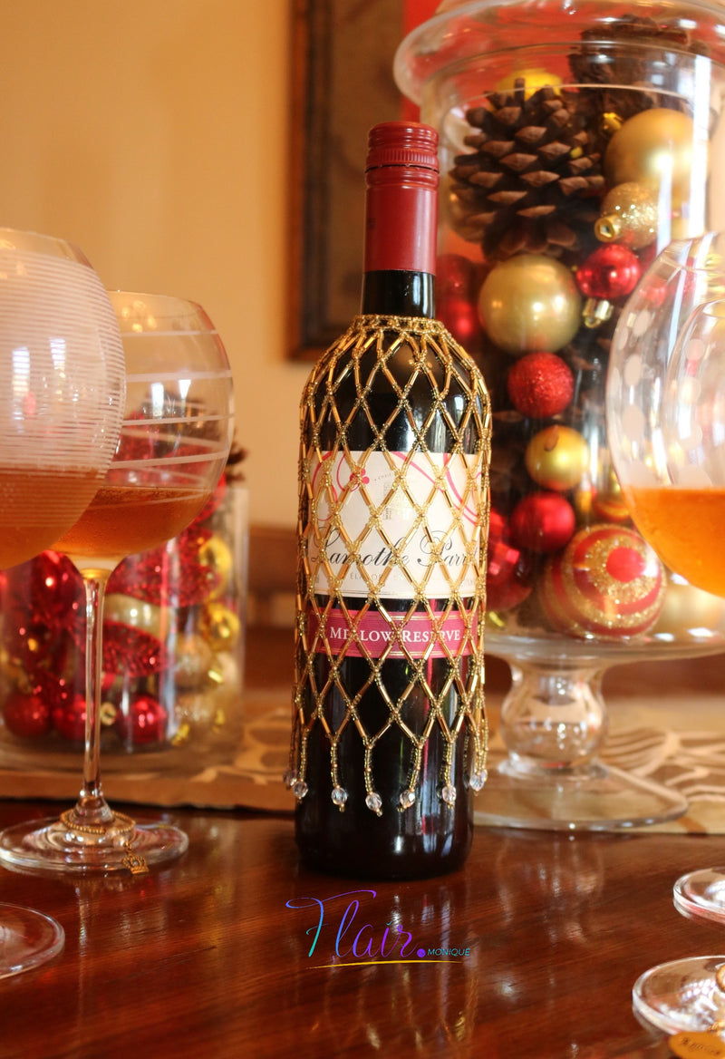 Hand beaded Wine Bottle Cover