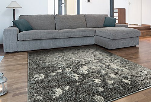Adgo Milano Collection Modern Contemporary Vintage Floral Design Jute Backed Area Rugs High Pile Soft and Fluffy Indoor Floor Rug, Silver Blue