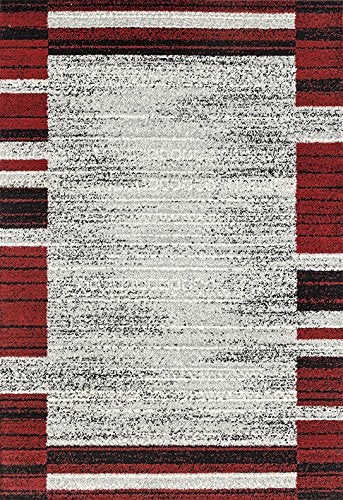 Adgo Milano Collection Modern Contemporary Geometric Framed Striped Design Jute Backed Area Rugs High Pile Soft and Fluffy Indoor Floor Rug, Silver Red