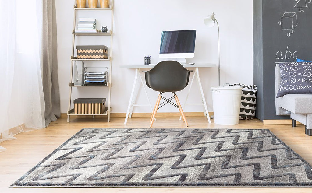 Adgo Fiesta Luxury Collection Modern Contemporary Chevron Design Vivid Color Jute Backed Area Rugs High Pile Well Spaced Incredibly Soft and Fluffy Indoor Floor Rug, Grey