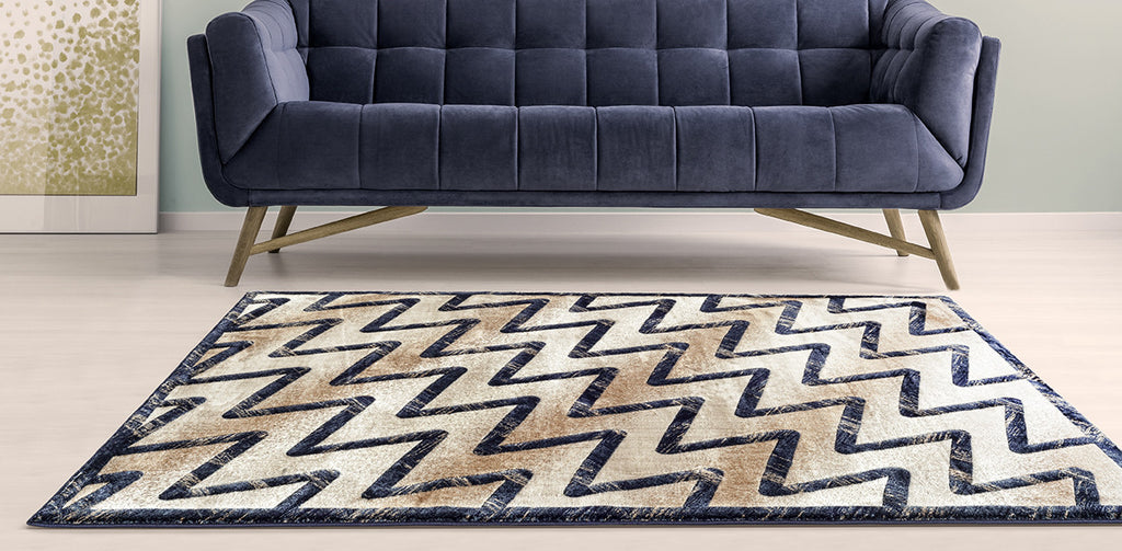 Adgo Fiesta Collection Modern Contemporary Liv Beige Mink and Navy Design Jute Backed Area Rugs Tall Pile Height Well Spaced Soft and Fluffy Indoor Floor Rug