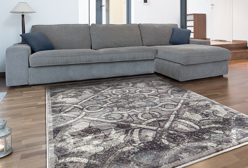 Adgo Fiesta Collection Modern Contemporary Live Light Grey and Beige Design Jute Backed Area Rugs Tall Pile Height Well Spaced Soft and Fluffy Indoor Floor Rug