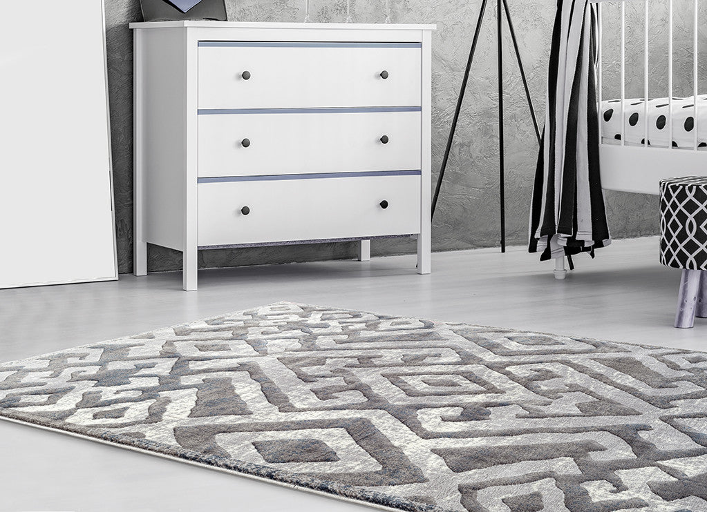 Adgo Fiesta Collection Modern Contemporary Live Light Grey Design Jute Backed Area Rugs Tall Pile Height Well Spaced Soft and Fluffy Indoor Floor Rug