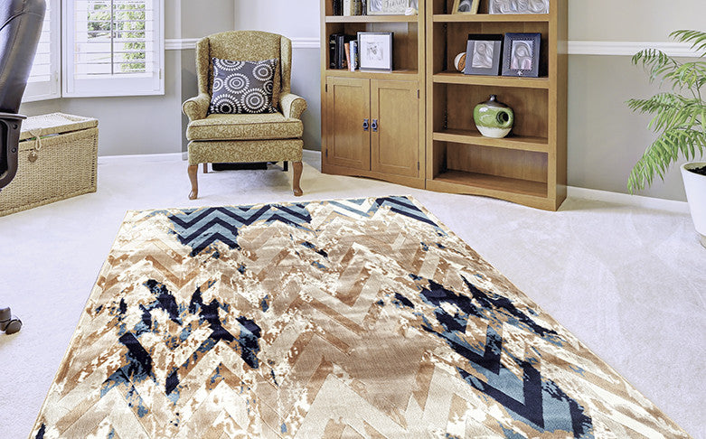 Adgo Fiesta Collection Modern Contemporary Live Beige Mink and Navy Design Jute Backed Area Rugs Tall Pile Height Well Spaced Soft and Fluffy Indoor Floor Rug
