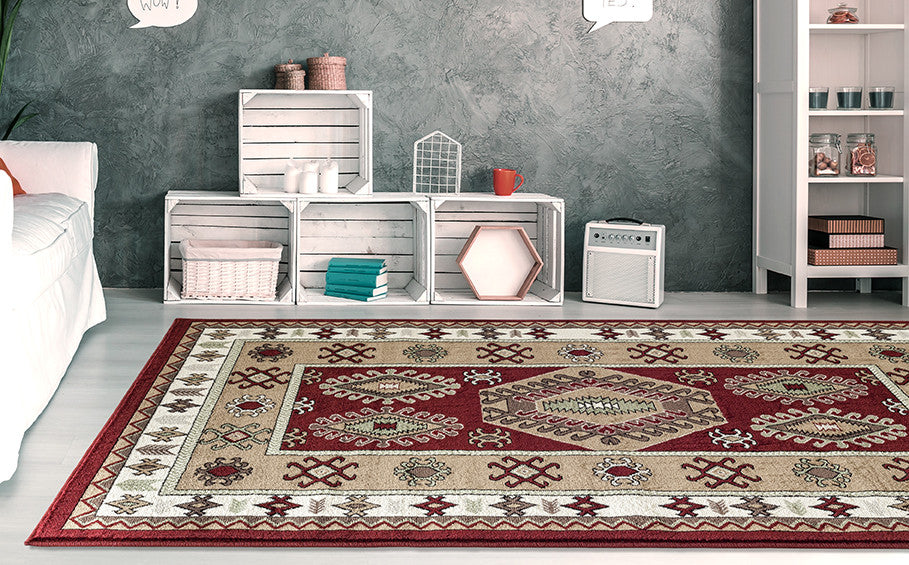Adgo Medeo Collection Beige and Red Multicolor Area Rug