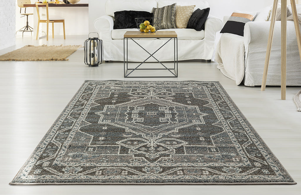 Adgo Milano Collection Silver Blue Stone Area Rug
