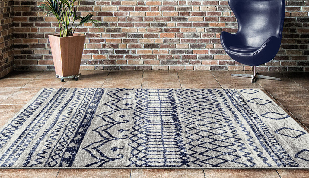Adgo Ravenna Collection L. Grey and D. Blue  Area Rug