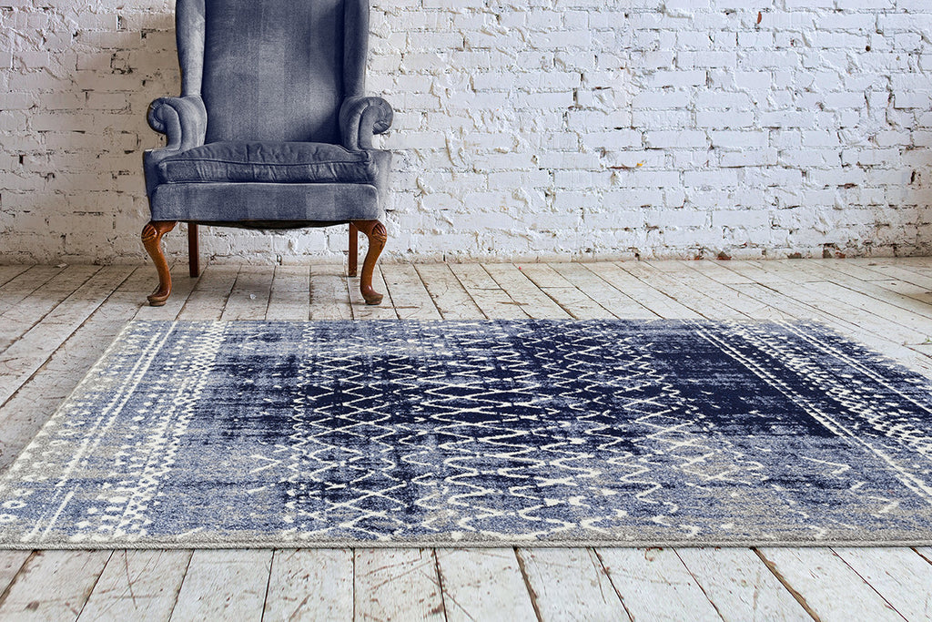 Adgo Ravenna Collection D. Blue and White Area Rug