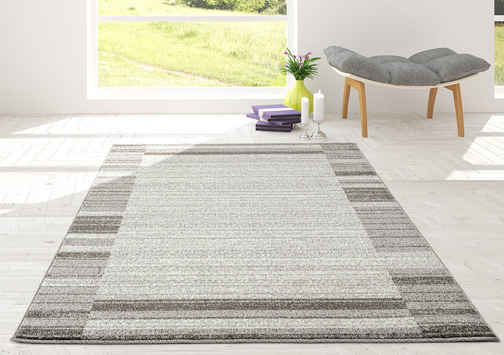 Adgo Ravenna Collection White and L. Grey Area Rug