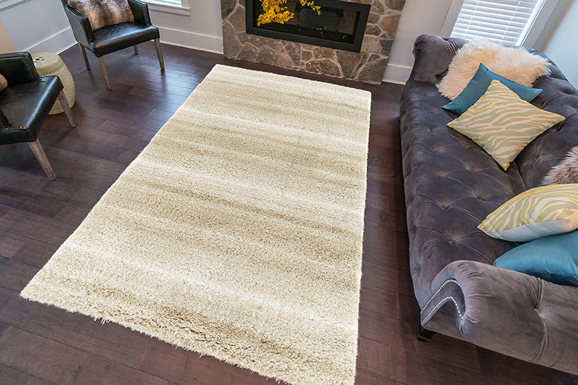 Adgo Vernazza Collection Modern Contemporary Live Beige and White Design Jute Backed Area Rugs Tall Pile Height Well Spaced Soft and Fluffy Indoor Floor Rug