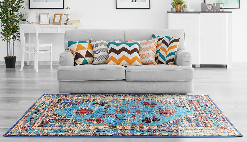 Adgo Valeron Collection Modern Contemporary Live Multicolor Design Jute Backed Area Rugs Tall Pile Height Well Spaced Soft and Fluffy Indoor Floor Rug