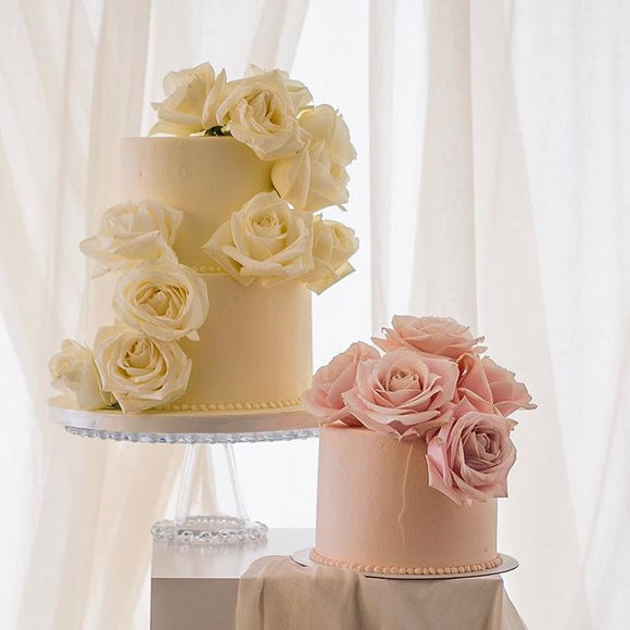 Garden Rose | Buttercream Iced Cake with Fresh Roses, Colour Options Available
