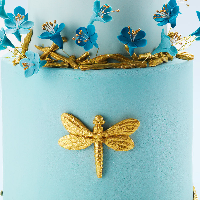 The Dragonfly | Two Tier Fondant Iced Cake