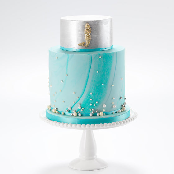The Mermaid | Two Tier Fondant Iced Cake