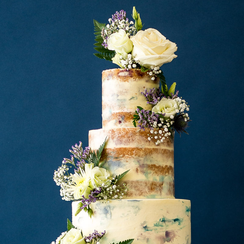 The Monet  | Semi-naked Buttercream Iced Wedding Cake with Fresh Flowers