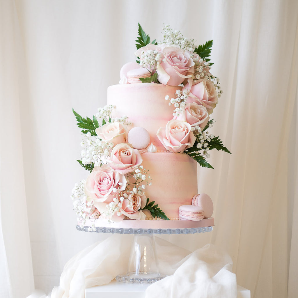 True Romance | Buttercream Iced Cake with Fresh Roses & Macarons, Colour Options Available