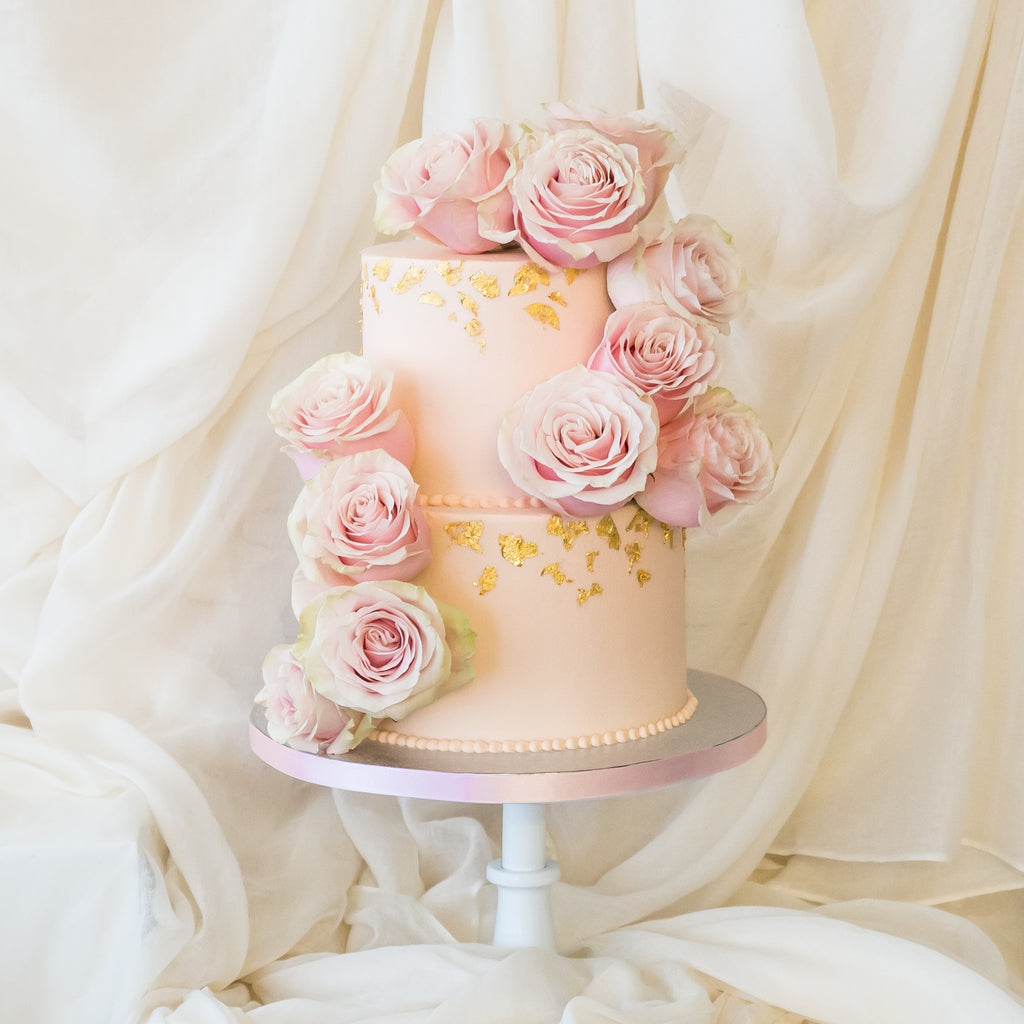 Gilded Garden Rose | Buttercream Iced Cake with Fresh Roses & 24 Carat Gold Leaf, Colour Options Available