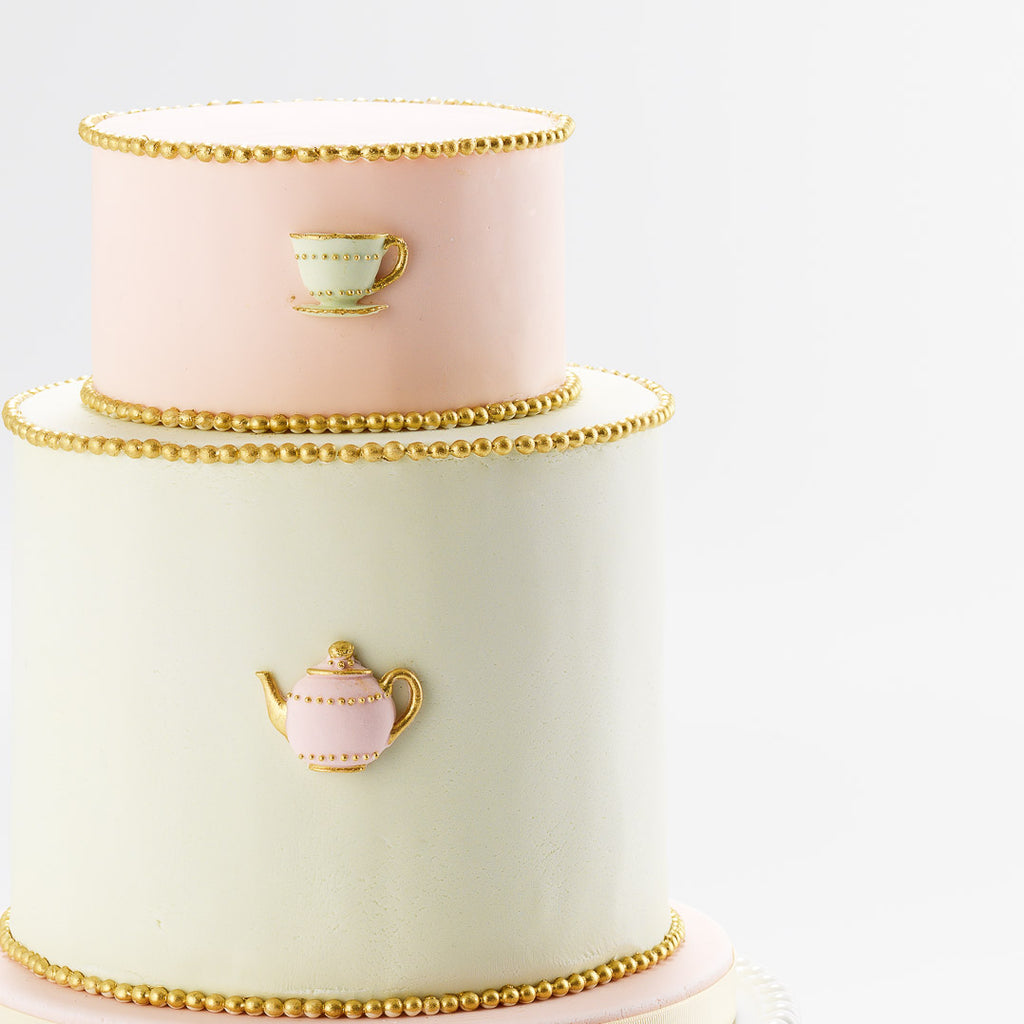 The Tea Party | Two Tier Fondant Iced Cake