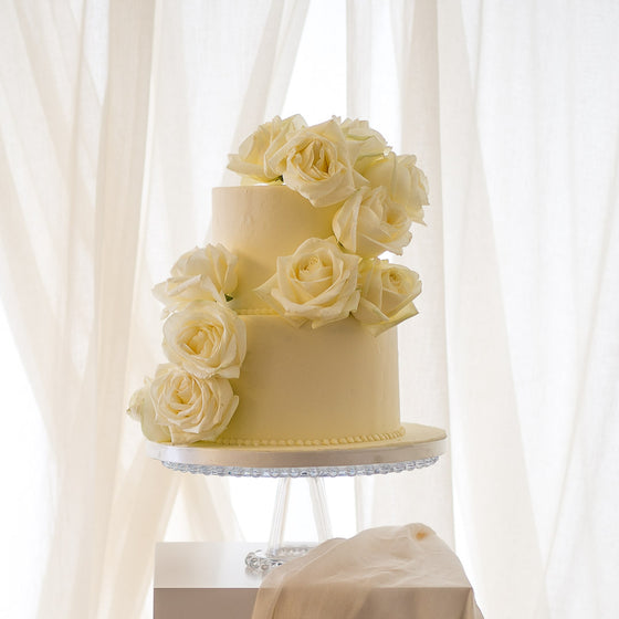 Garden Rose | Buttercream Iced Wedding Cake with Fresh Roses, Colour Options Available