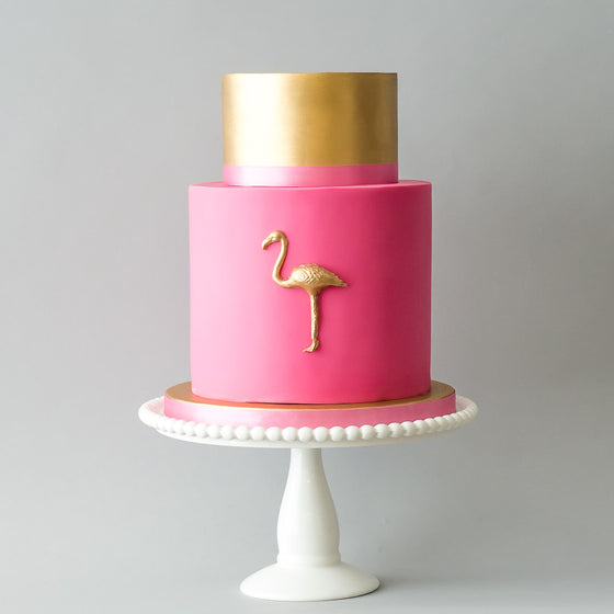 The Flamingo | Two Tier Fondant Iced Cake