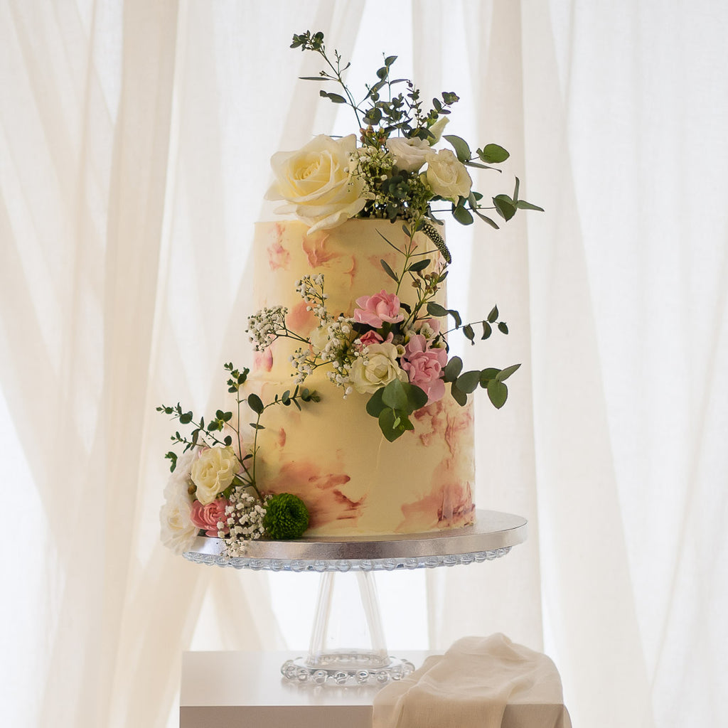 The Pink Monet  |  Buttercream Iced Wedding Cake with Fresh Flowers