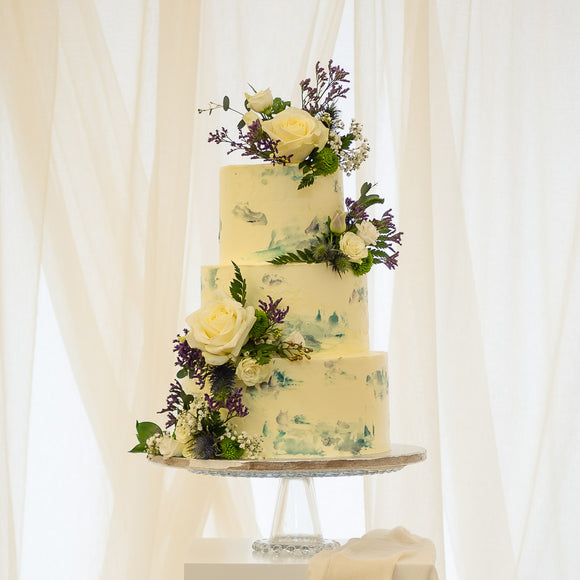 The Blue Monet  |  Buttercream Iced Wedding Cake with Fresh Flowers