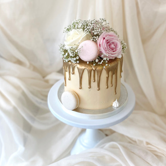 Floral Explosion | Buttercream Iced Drip Cake with Fresh Roses & Macarons, Colour Options Available