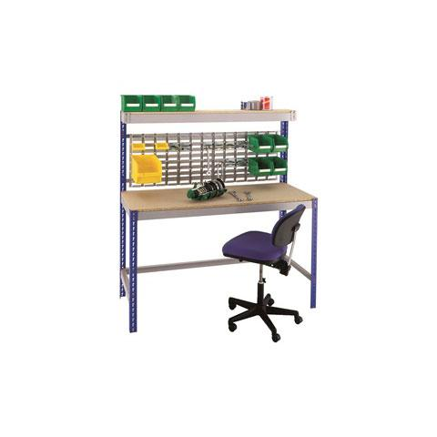 Stockrax Workstation With Louvre Panel - Chipboard Deck