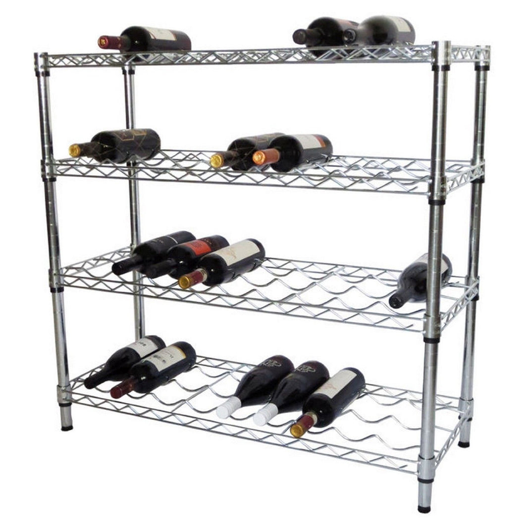 Chrome Wire Bottle Rack (4 Tier)