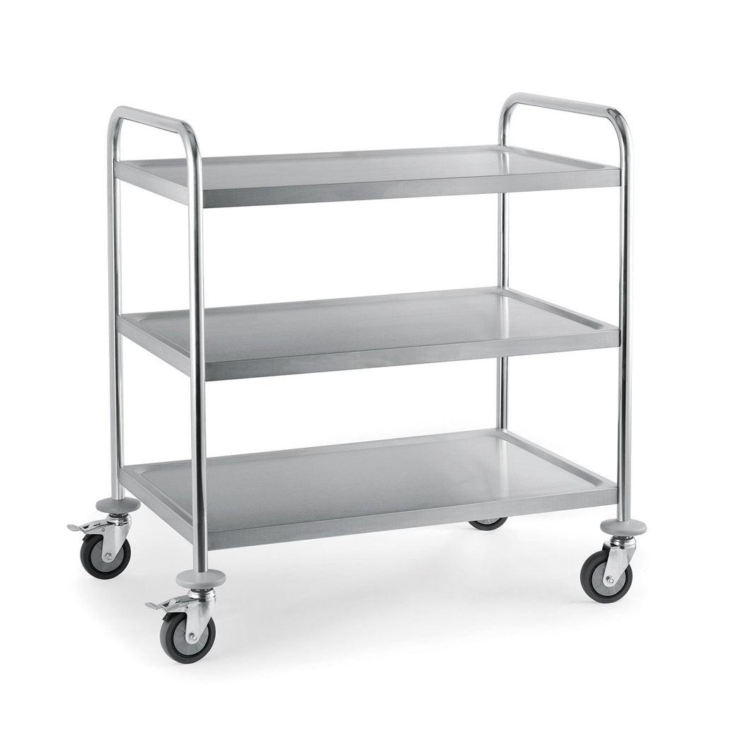 Flat Pack Stainless Steel 3 Tier Serving Trolley Small