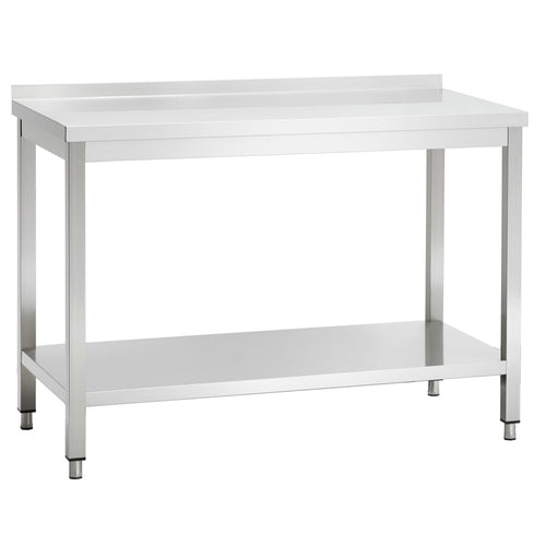 Stainless Steel Catering / Kitchen Table with Upstand and Shelf