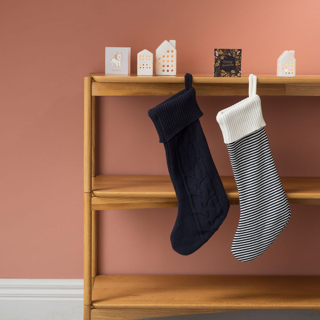 Knitted Stripe christmas Stocking Navy