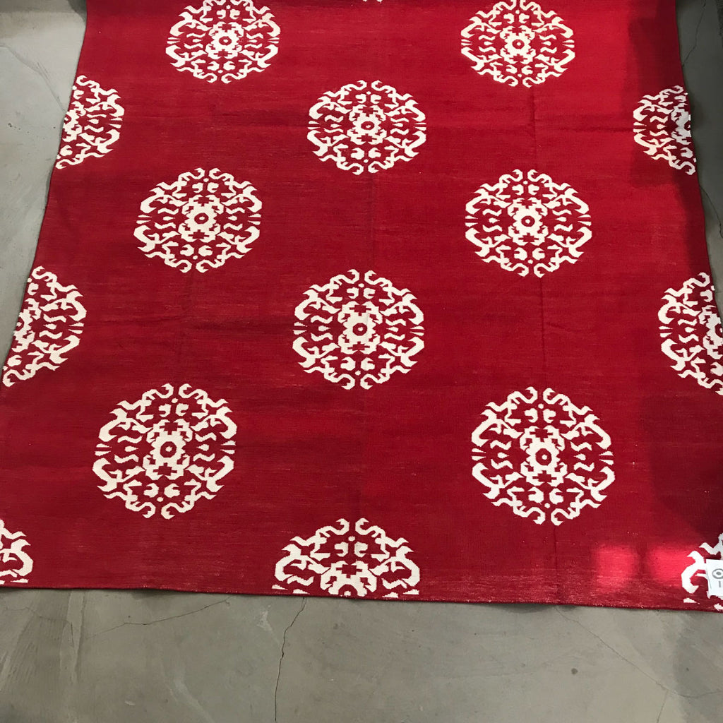 Rug Dhurry Red / Beige Mandala