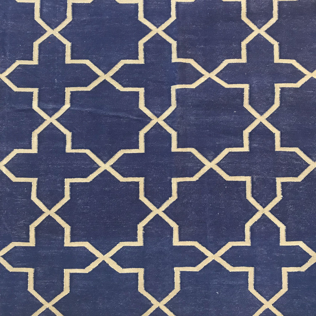 Rug Dhurry Navy/ Grey Jali - INSIDE, INSIDE Hong Kong