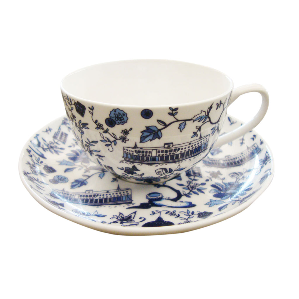Faux Hong Kong Toile Series Western Cup And Saucer Blue