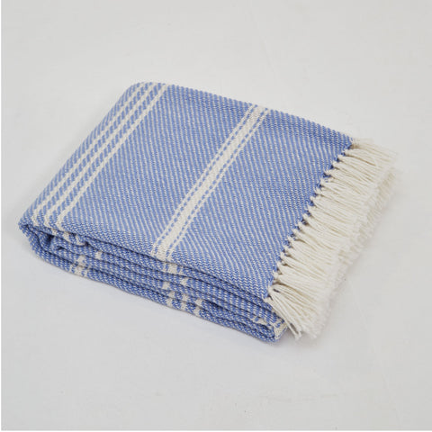 Oxford Striped Blanket Cobalt