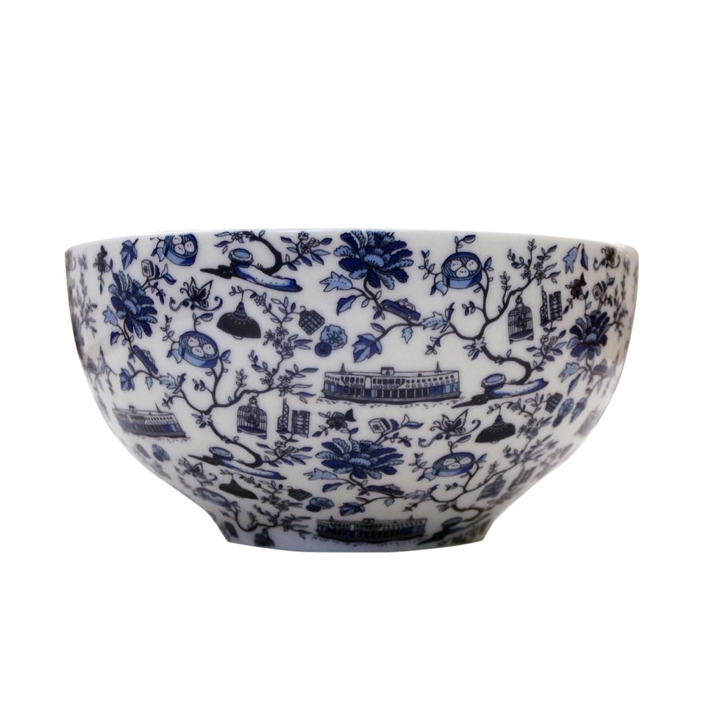 Faux Hong Kong Toile Series Bowl Blue Dim Sum Pair S/2