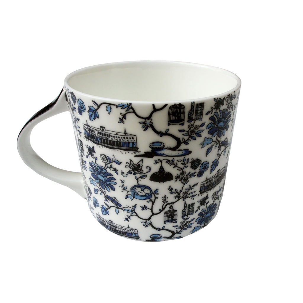 Faux Hong Kong Toile Series Mug Blue