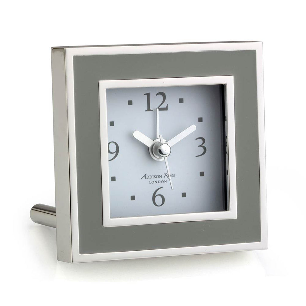 Addison Ross Enamel Taupe alarm clock
